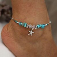 Boho Starfish Turquoise Beads Starfish Anklet Beach Sandal Ankle Bracelet Gift