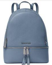 NWT MICHAEL Michael Kors RHEA Zip MEDIUM Backpack Bag Leather In DENIM BLUE $298