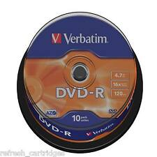 VERBATIM DVD-R RECORDABLE MEDIA 10 PACK SPINDLE CAKE /  16X SPEED / 4.7GB DATA