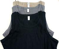 Nuevo Talla Especial 3 Piezas Hombre Camisetas de Tirantes Interior Negro Gris