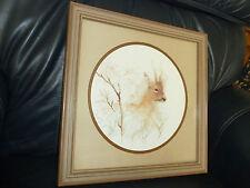 Vintage Home Interiors Deer print in wood look Square Frame with Round Print