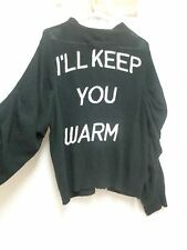 "Wildfox White Label black M Medium button front sweater  ""I'll keep you warm"""
