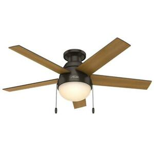 """Hunter Low Profile Anslee 46"""" Home Ceiling Fan with LED Light and Pull Chains"""