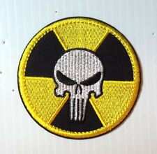 "Punisher White Skull w Radiation Logo 3"" Embroidered Patch- FREE S&H (PUPA-06)"