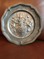 "Vintage 9"" Pewter Plate Cross Shield, Leaves. Crane? ges.gesch symbol on back"