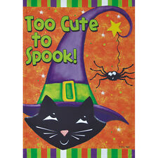"TOO CUTE TO SPOOK CAT 28"" X 40"" PORCH FLAG 26-2682-138 FLIP IT! RAIN OR SHINE"