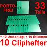 10 Cliphefter Bewerbungsmappen + Umschläge - Dunkelgrün / Grün - Set Bewerbung