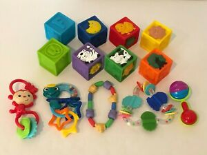 Baby Infant Rattle Teether Soft Blocks Stroller Crib Toy Lot of Toys