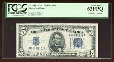 DBR 1934-C $5 Silver Fr. 1653 Wide Face PCGS 63 PPQ Serial M90498131A