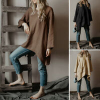 Women O Neck Long Sleeve Cotton Vintage Jumper Long Tops Blouse Loose Shirt Plus
