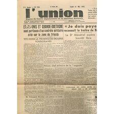 L'UNION 1945 Michel SICRE Maire de REIMS De GAULLE à STUTTGART PÉTAIN la Cagoule
