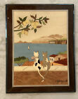 SOTTO I LIMONI Wood Inlay Plaque Cats Lemon Tree Marquetry Wall Art Plaque