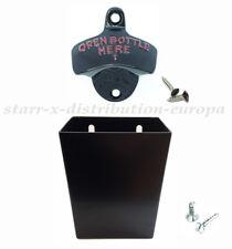 USA WANDFLASCHENÖFFNER & Metall Auffangbehälter für 50 Kronkorken STARR X Set
