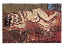 Postcard Art NUDE ON A RED BED (1972) by Leon Kossoff MU2166 #75 Risque