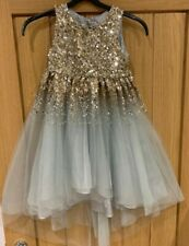 GIRLS PARTY DRESS BY MONSOON AGE 6 STUNNING GOLD SEQUIN PALE BLUE CHIFFON SKIRT
