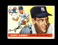 1955 Topps #20 Andy Carey Vintage Baseball Card VG (Crease) ~ New York Yankees