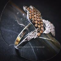 Padparadscha Quarz Weißtopas Cluster Designer Ring 925 Silber rhodiniert 18,4 mm