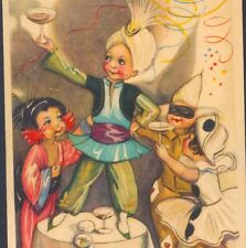 MINT.! CHIOSTRI..CARNIVAL! CHAMPAGNE TOAST,COSTUME PIERROT,GEISHA,DECO POSTCARD