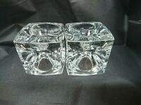 Vintage Mid Century Modern Candle Holders Glass Cubes