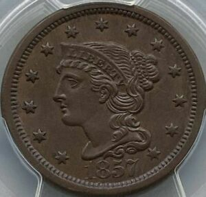 1857 Braided Hair Large Cent - Large Date  PCGS MS63BN / CAC