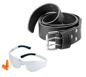 Dewalt DWST175661 Heavy Duty Leather Belt + Safety Clear Glasses with Earplugs