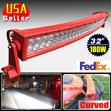"180W 32"" Red Curved Spot Flood Combo LED Light Bar Offroad Driving SUV 4WD Boat"
