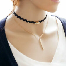 Women Chic Double Black Gold Chain Choker Chunky Charm Pendant Necklace Jewelry