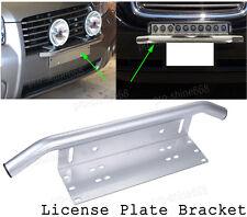 Front Bumper License Plate Mount Bracket Led Work Light Holder OffRoad SUV Silve