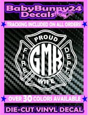 Custom Wife Fire Fighter Dept Decal Vinyl Sticker monogram Proud personalized