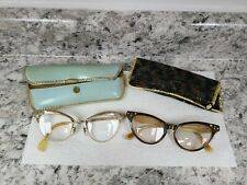 2 Vintage 40's Art Deco Cat Eye Eyeglasses Frame For Art Project Need Repair