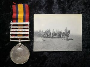 Queens South Africa Medal 1899-1902 medal 5 clasps Trp W.Terry S.A.C & photo
