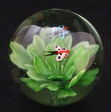 "Vintage Butterflies and Flower Glass 3.1/2"" Paperweight Beautiful"