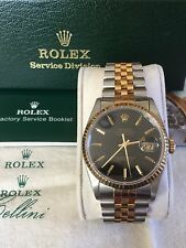 Mens ROLEX Oyster Perpetual Datejust Yellow Gold Stainless Steel Black Dial