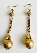 Antique Victorian 1800's Gold Filled Long Drop Dangle Ball Chain Earrings
