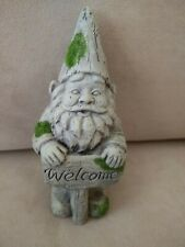 Cement Gray Garden Gnome With Welcome Sign & Moss Patches