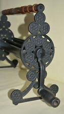 More details for vintage ornate cast iron & wood paper roll dispenser black kitchen kitchenalia