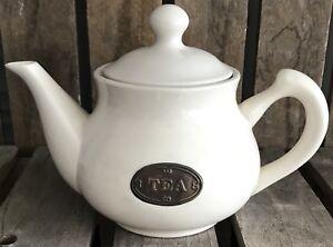 Tea Pot with Lid Beige Pottery Ceramic Labelled Vintage Kitchen Table