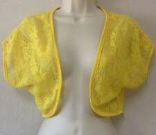 Women's Fresh of LA Yellow See Though Short Sleeve Open Crop Cardigan SZ S/M