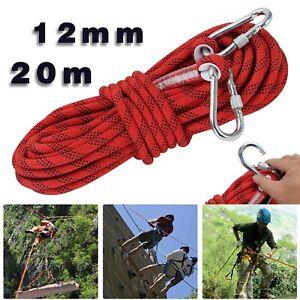 20m 12mm Kletterseil Sicherheitsseil mit Karabinerhaken Seil Sicherung DHL