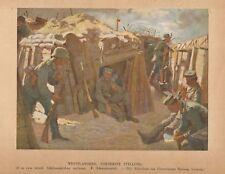 B8126 Belgio - Fiandre occidentali - Militari in trincea - Stampa - 1920 print