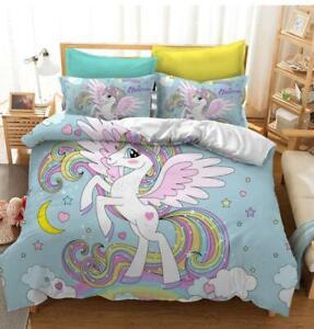 Girls Kids Rainbow Unicorn Quilt Doona Duvet Cover Set Single Double Queen King