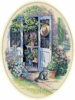 "Dimensions Garden Door 12x16"" Counted Cross Stitch Oval 14 Count Aida NEW!"