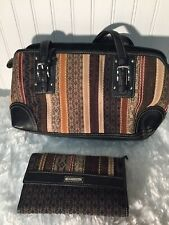 Fossil Brown Multicolored Shoulder Bag And Matching Trifold Wallet