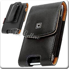 for SAMSUNG GALAXY AMP 2 II CRICKET BLACK LEATHER CASE COVER POUCH HOLSTER CLIP