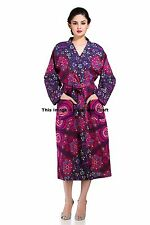 Women Long Kimono Robe Wedding Gown Voilet Mandala Cotton Handmade 8