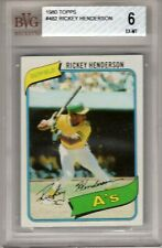 1980 Topps Rickey Henderson Rookie Card #482 Beckett Graded 6 EX-MT