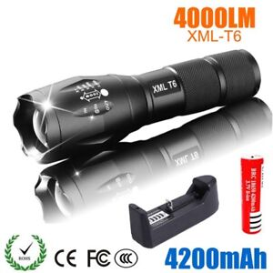 CREE XML T6 LED Flashlight torch 4000 lumens 5 Mode Rechargeable 18650 Battery