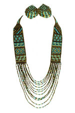 Copper & Turquoise Classic Native Beaded Glass Necklace Magnetic Clasp Artisan