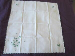 Small Tablecloth Vintage Irish Linen Embroidered Green Shamrock