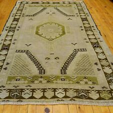 """Antique Ushak Ca1900-1939s 3'7""""×6'3"""" Muted  Natural  Dyes  Rug"""